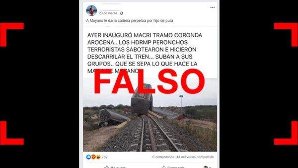 No, el tren Belgrano Cargas no descarriló en 2018 debido a un sabotaje de los Moyano