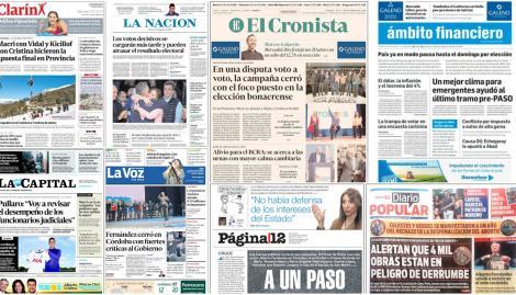 Los cierres de campañas coparon las tapas de los diarios argentinos