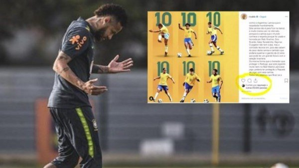 Un gesto de Neymar en Instagram generó revuelo en Brasil