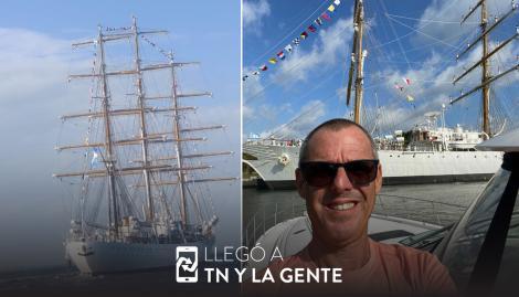 La Fragata Libertad llegó a Miami y un argentino la fue a recibir con el Himno a todo volumen