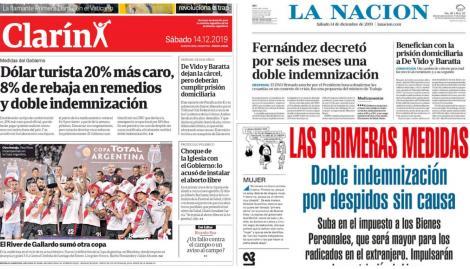 Las primeras medidas de Alberto Fernández, en las tapas de los diarios argentinos