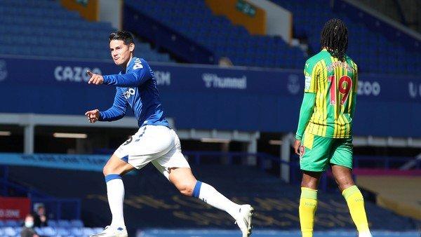 James Rodríguez recuperó la sonrisa y Everton armó un show de fútbol para golear a West Bromwich