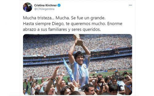 "cristina-kirchner:-""se-fue-un-grande.-hasta-siempre-diego"""