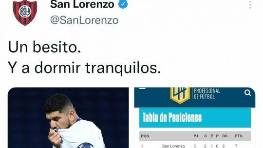 el-posteo-en-twitter-de-san-lorenzo-que-dio-inicio-a-la-mala-racha